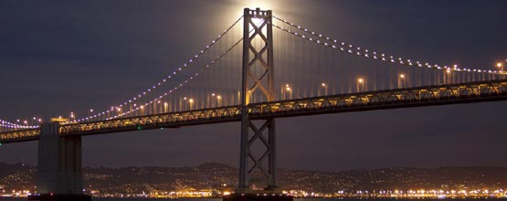 Full Moon over Golden Gate Bridge in California.