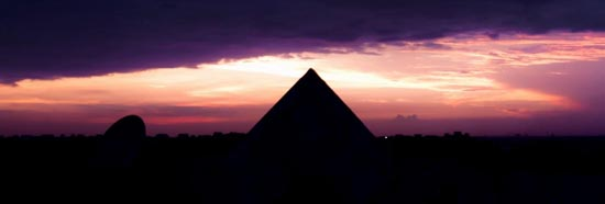 New Moon at twilight by the Great Pyramid