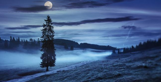 Full Moon Photograph on a Misty Solstice Night