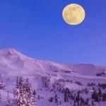 Full Moon over Mount Baker, Washington.