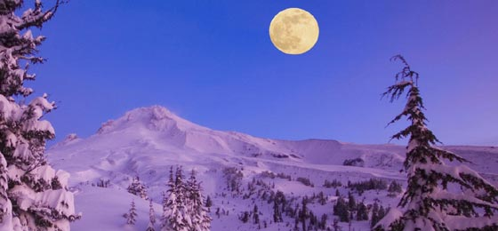 Full Moon over Mount Baker, Washington.