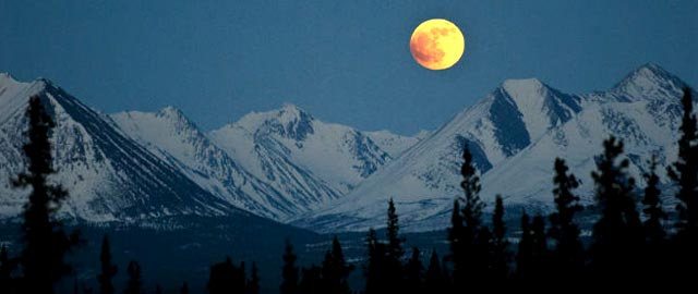 Full Moon over the Cascades in Washington State