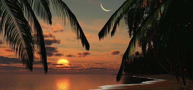 Aries New Moon Photo Over Hawaii Beach
